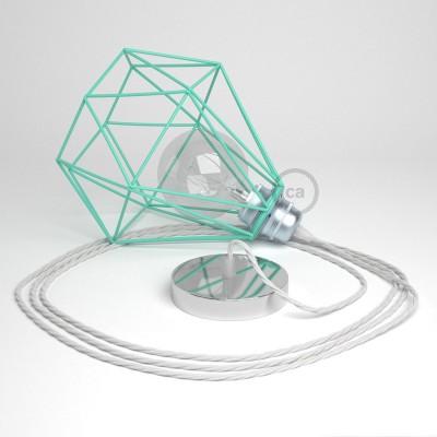 Lámpara colgante con jaula Diamond color turquesa y cable TC01 Algodón Blanco