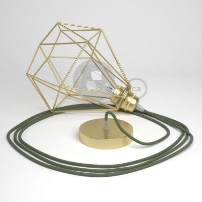 Lámpara colgante con jaula Diamond acabado latón y cable RC63 Algodón Verde Gris