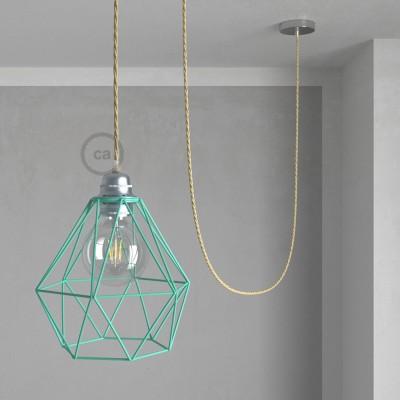 Lámpara colgante con jaula Diamond color turquesa y cable TN06 Yute