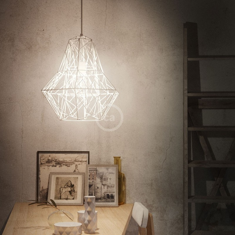 Jaula XXL lámpara desnuda Darth metal Blanco con socket E27