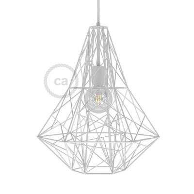 Jaula XXL lámpara desnuda Mercury metal Blanco con socket E27