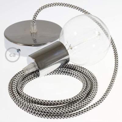 Pendel único, lámpara colgante cable textil Stracciatella 3D RT14