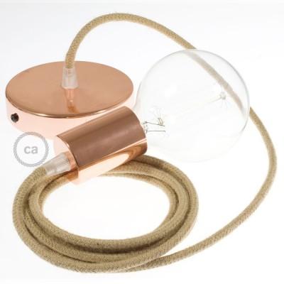 Pendel único, lámpara colgante cable textil en Yute RN06