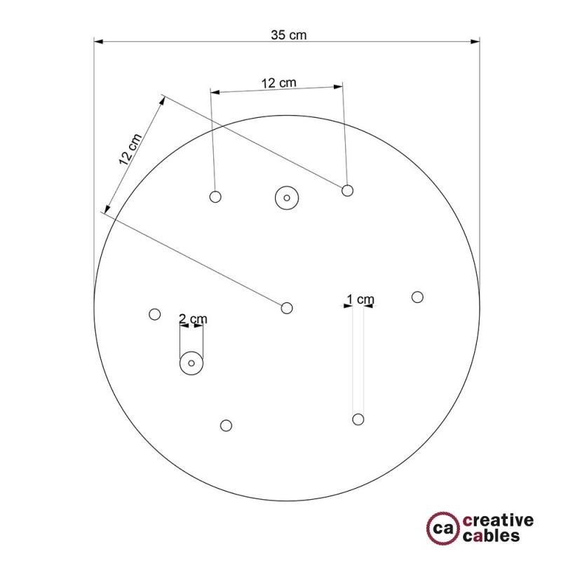 escudo XXL circular 35cm a 7 agujeros blanco completo de accesorios