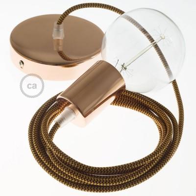 Pendel único, lámpara colgante cable textil ZigZag Dorado y Burdeos en tejido Rayón RZ23