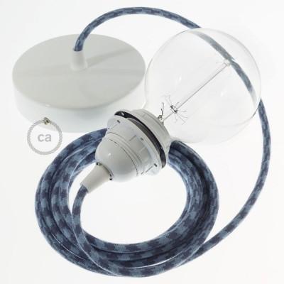 Pendel para pantalla, lámpara colgante cable textil Bicolor Gris Piedra y Océano en Algodón RP25