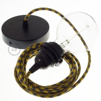 Pendel para pantalla, lámpara colgante cable textil Bicolor Miel Dorado y Antracita en Algodón RP27