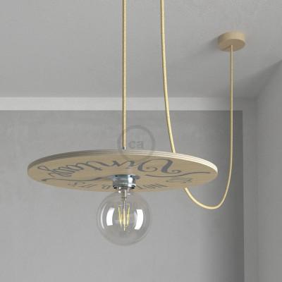 """Pendel completo """"Le Palle Volanti"""" diseño """"It's not old, it's vintage"""" + patrón Drops y cable textil RN06 Yute"""