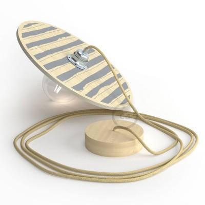 """Pendel completo """"Le Palle Volanti"""" diseño patrón Rayas + patrón Dots y cable textil RN06 Yute"""