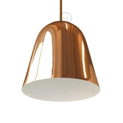 Pantalla Campana en metal pulido cobre completa con prensaestopa y socket E27