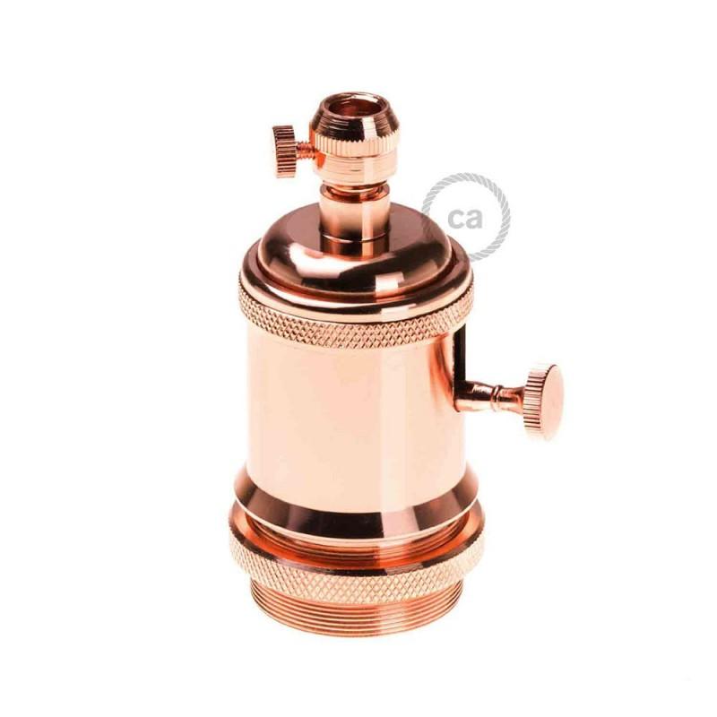 Sockets en cobre vintage acabado Cobre E27 con interruptor rotativo y Prensaestopa de rosca