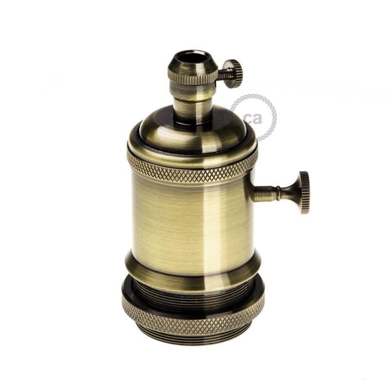 Sockets en cobre vintage acabado Oro envejecido E27 con interruptor rotativo y Prensaestopa de rosca