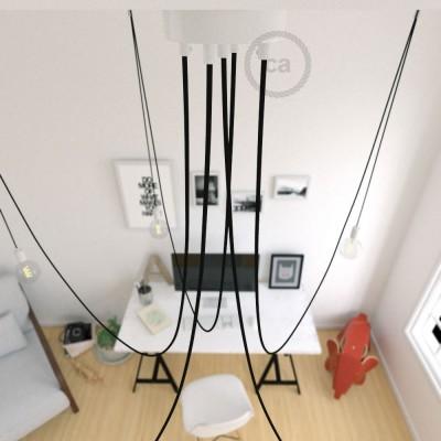 Spider, suspensión múltiple con 5 colgantes, metal blanco, cable negro RM04, Made in Italy