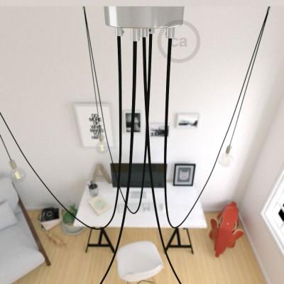 Spider, suspensión múltiple con 5 colgantes, metal cromado, cable negro RM04, Made in Italy