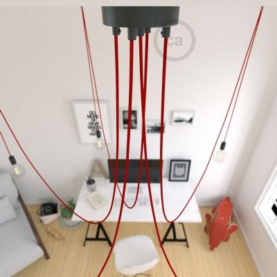 Spider, suspensión múltiple con 5 colgantes, metal negro, cable rojo RM09, Made in Italy