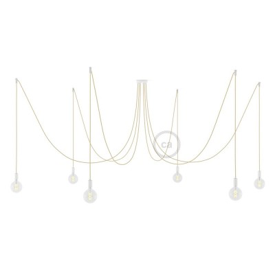 Spider, suspensión múltiple con 6 colgantes, metal blanco, cable en Yute RN06, Made in Italy