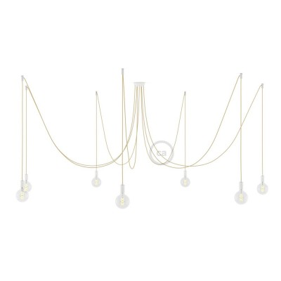 Spider, suspensión múltiple con 7 colgantes, metal blanco, cable en Yute RN06, Made in Italy