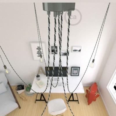 Spider, suspensión múltiple con 5 colgantes, metal negro perla, cable Orleans TG07, Made in Italy