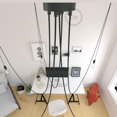 Spider, suspensión múltiple con 5 colgantes, metal negro, cable lino natural antracita RN03, Made in Italy