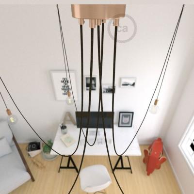 Spider, suspensión múltiple con 5 colgantes, metal cobre, cable lino natural Café RN04, Made in Italy