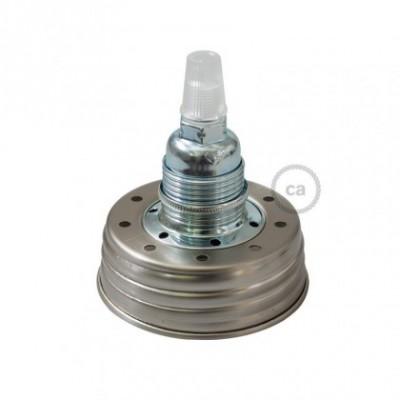 Kit de iluminación para tarro de vidrio en metal color Zinc, prensaestopa cónico y sockets E14 de metal cromado