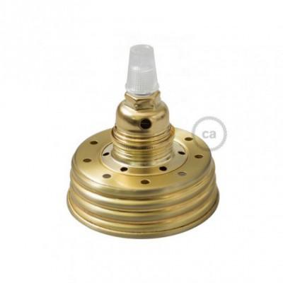 Kit de iluminación para tarro de vidrio en metal color Oro, prensaestopa cónico y sockets E14 de metal latón