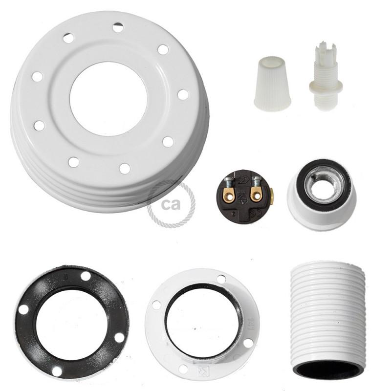 Kit de iluminación para tarro de vidrio en metal color Blanco, prensaestopa cónico y sockets E14 en baquelita blanca