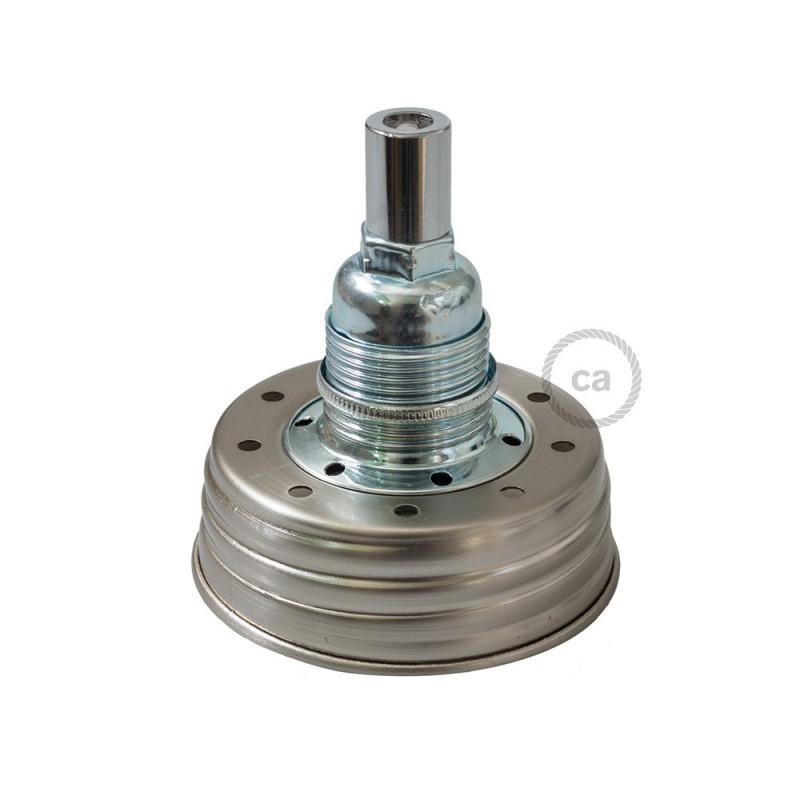 Kit de iluminación para tarro de vidrio en metal color Zinc, prensaestopa cilíndrico y sockets E14 de metal cromado