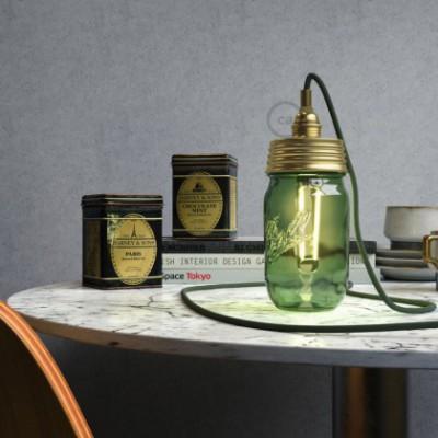 Kit de iluminación para tarro de vidrio en metal color Oro, prensaestopa cilíndrico y sockets E14 en metal latón
