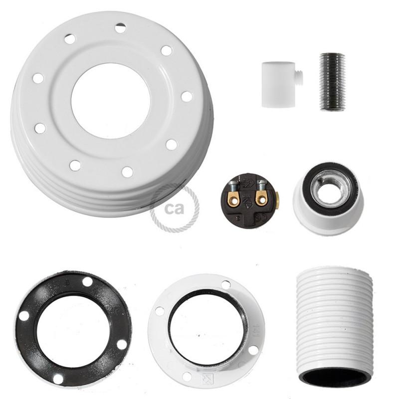 Kit de iluminación para tarro de vidrio en metal color Blanco, prensaestopa cilíndrico y sockets E14 en baquelita blanca