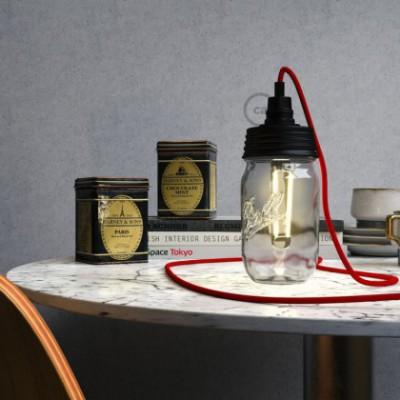 Kit de iluminación para tarro de vidrio en metal color Negro, prensaestopa cilíndrico y sockets E14 en baquelita negra