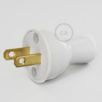 Clavija blanca en termoplástico