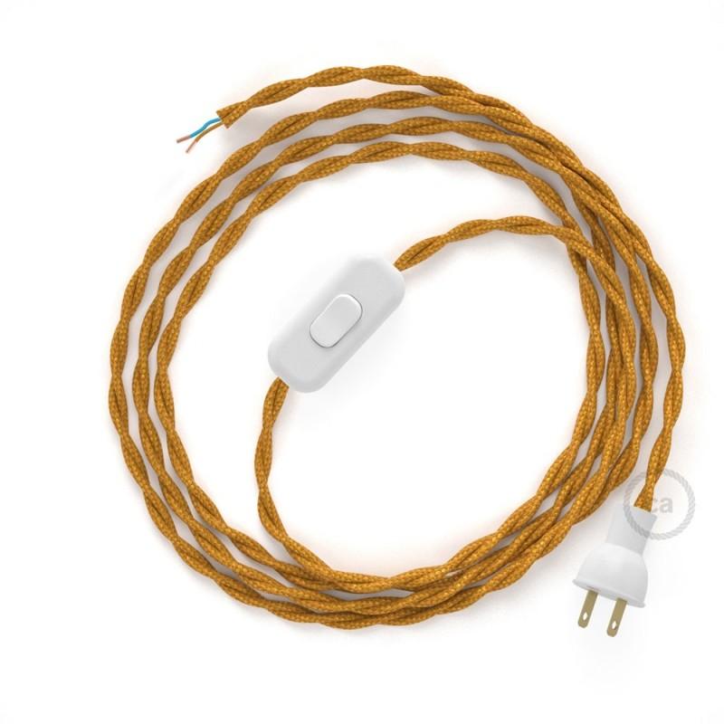 Cableado para lámpara de mesa, cable TM05 Rayón Dorado 1,8 m. Elige el color de la clavija y del interruptor!