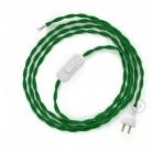 Cableado para lámpara de mesa, cable TM06 Rayón Verde 1,8 m. Elige el color de la clavija y del interruptor!