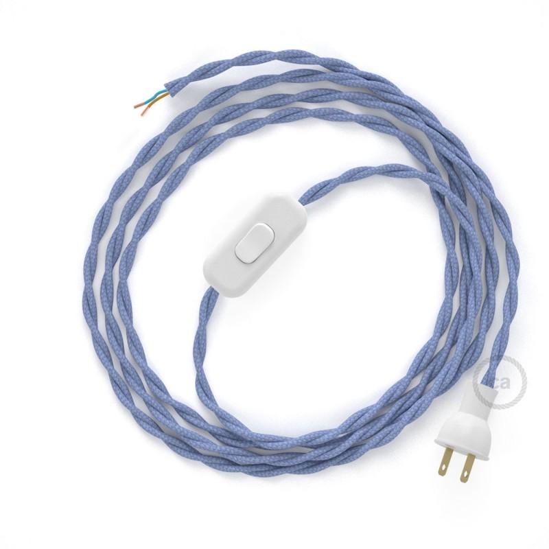 Cableado para lámpara de mesa, cable TM07 Rayón Lila 1,8 m. Elige el color de la clavija y del interruptor!