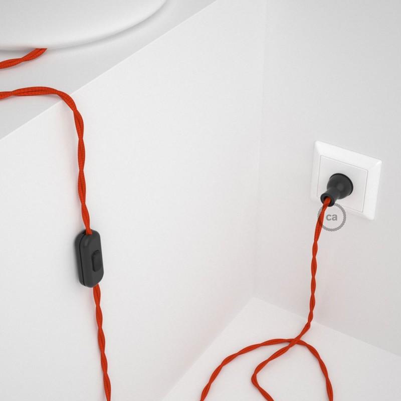 Cableado para lámpara de mesa, cable TM15 Rayón Naranja 1,8 m. Elige el color de la clavija y del interruptor!