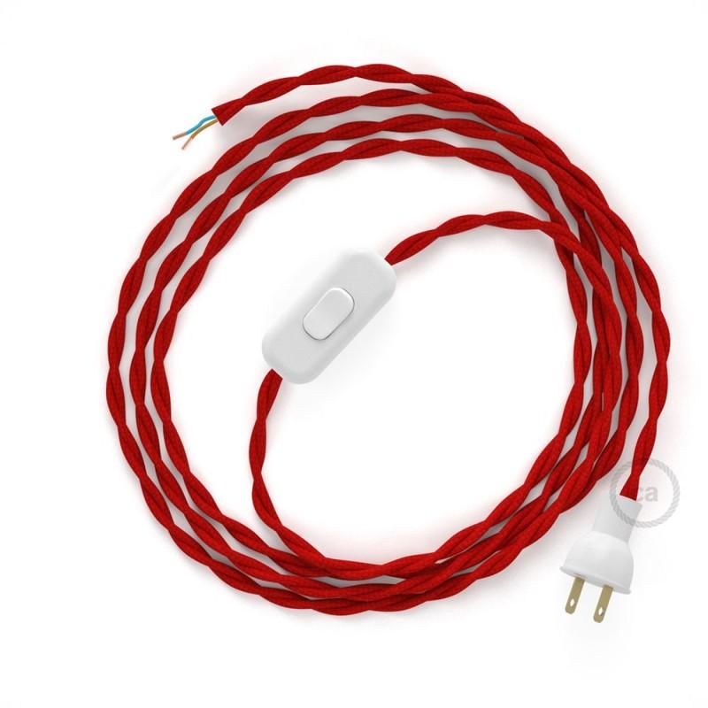 Cableado para lámpara de mesa, cable TM09 Rayón Rojo 1,8 m. Elige el color de la clavija y del interruptor!