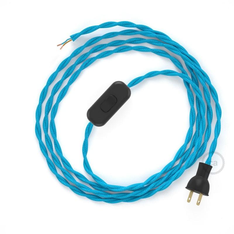 Cableado para lámpara de mesa, cable TM11 Rayón Celeste 1,8 m. Elige el color de la clavija y del interruptor!