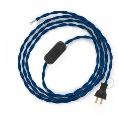 Cableado para lámpara de mesa, cable TM12 Rayón Azul 1,8 m. Elige el color de la clavija y del interruptor!