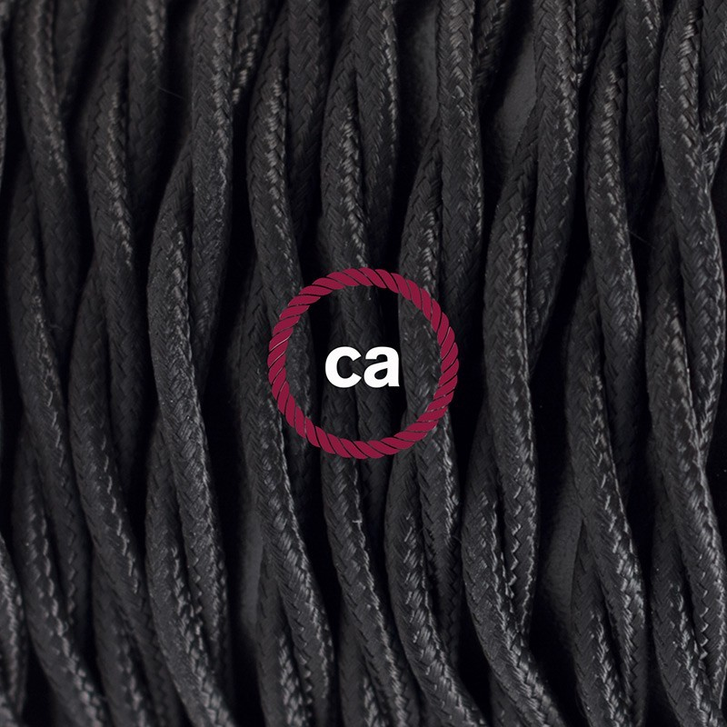 Cableado para lámpara de mesa, cable TM04 Rayón Negro 1,8 m. Elige el color de la clavija y del interruptor!