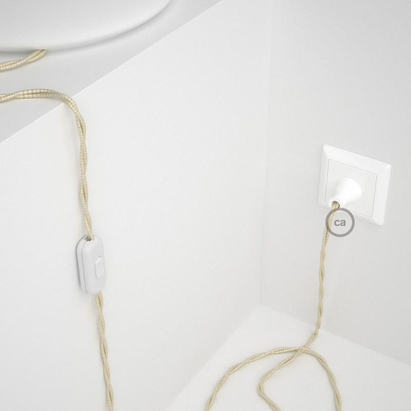 Cableado para lámpara de mesa, cable TM00 Rayón Marfil 1,8 m. Elige el color de la clavija y del interruptor!