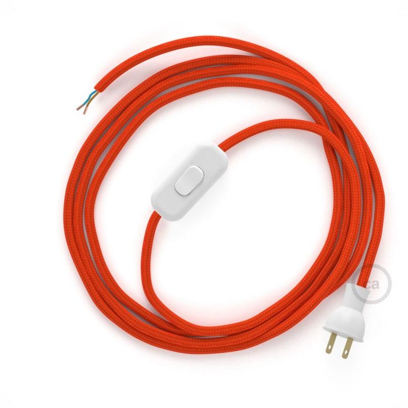 Cableado para lámpara de mesa, cable RM15 Rayón Naranja 1,8 m. Elige el color de la clavija y del interruptor!