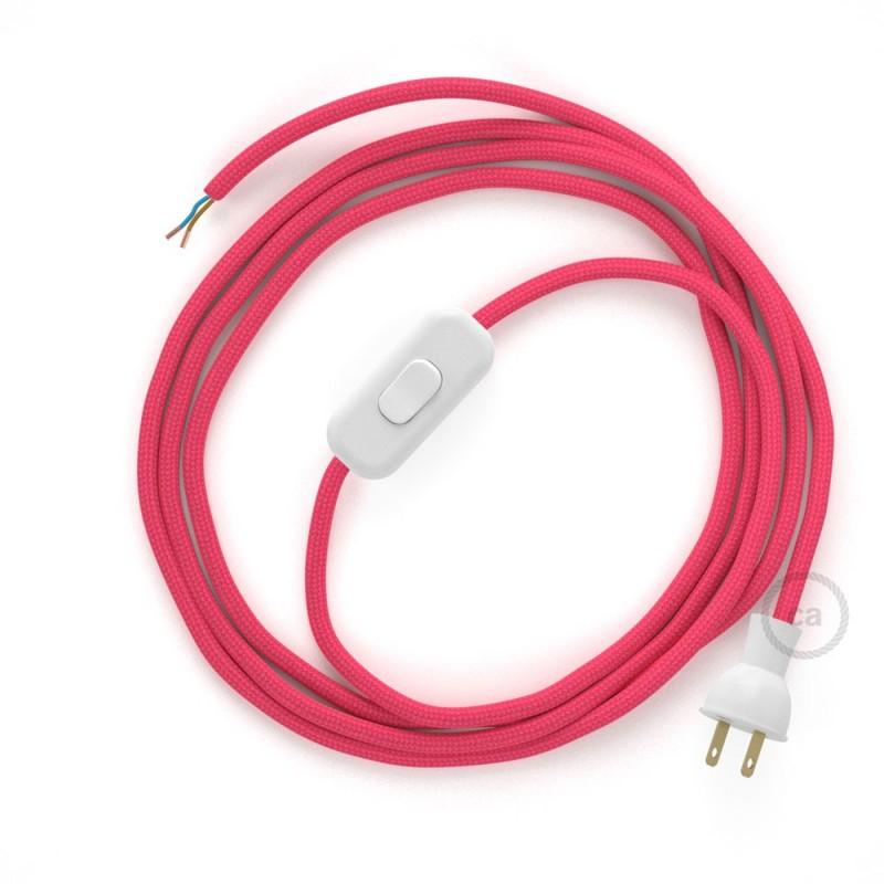 Cableado para lámpara de mesa, cable RM08 Rayón Fucsia 1,8 m. Elige el color de la clavija y del interruptor!