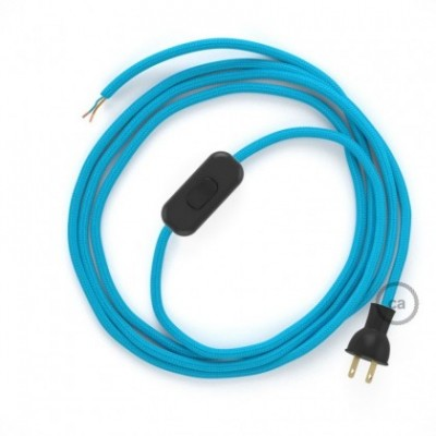 Cableado para lámpara de mesa, cable RM11 Rayón Celeste 1,8 m. Elige el color de la clavija y del interruptor!