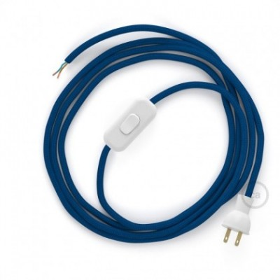 Cableado para lámpara de mesa, cable RM12 Rayón Azul 1,8 m. Elige el color de la clavija y del interruptor!
