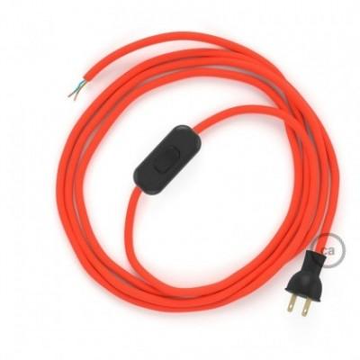 Cableado para lámpara de mesa, cable RF15 Rayón Naranja Fluorescente 1,8 m. Elige el color de la clavija y del interruptor!