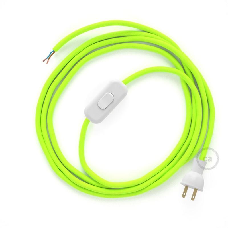 Cableado para lámpara de mesa, cable RF10 Rayón Amarillo Fluorescente 1,8 m. Elige el color de la clavija y del interruptor!