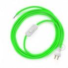 Cableado para lámpara de mesa, cable RF06 Rayón Verde Fluorescente 1,8 m. Elige el color de la clavija y del interruptor!