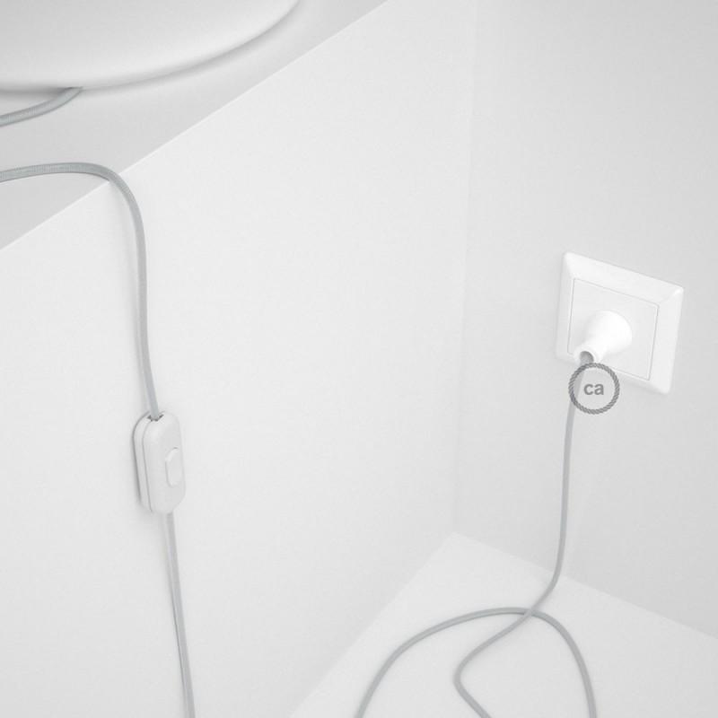 Cableado para lámpara de mesa, cable RM02 Rayón Plateado 1,8 m. Elige el color de la clavija y del interruptor!