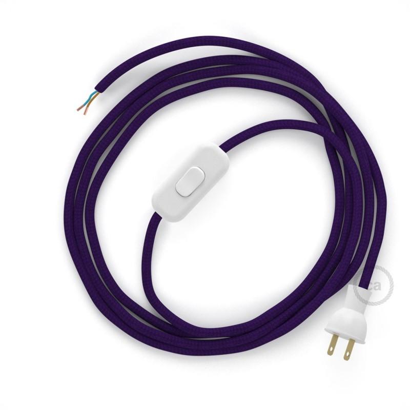Cableado para lámpara de mesa, cable RM14 Rayón Púrpura 1,8 m. Elige el color de la clavija y del interruptor!